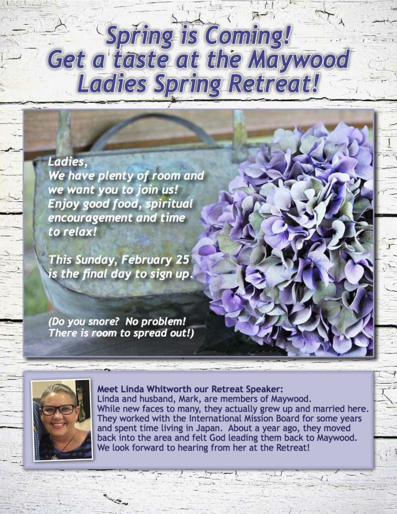 Maywood Ladies Spring Retreat